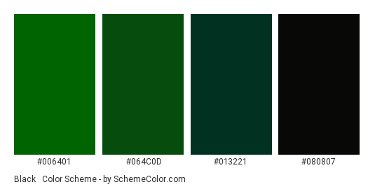 Black & Dark Green - Color scheme palette thumbnail - #006401 #064C0D #013221 #080807