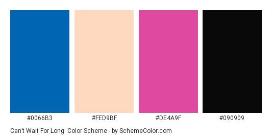 Can't Wait for Long - Color scheme palette thumbnail - #0066B3 #FED9BF #DE4A9F #090909