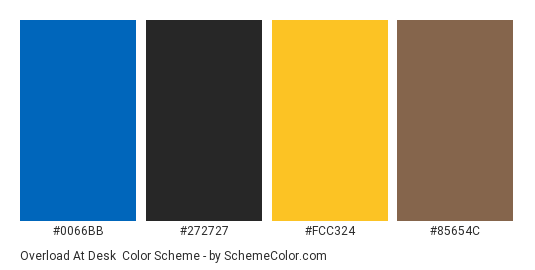 Overload at Desk - Color scheme palette thumbnail - #0066BB #272727 #FCC324 #85654c