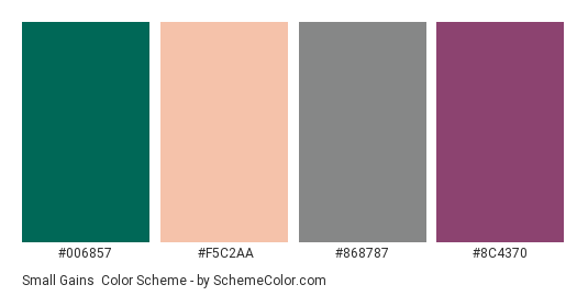 Small Gains - Color scheme palette thumbnail - #006857 #f5c2aa #868787 #8c4370