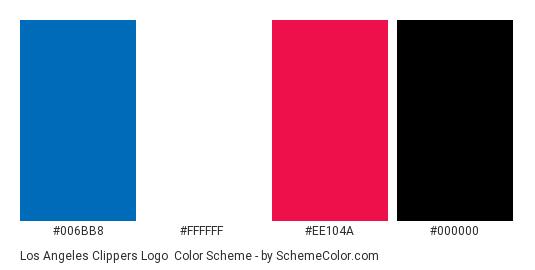 Los Angeles Clippers Logo - Color scheme palette thumbnail - #006bb8 #ffffff #ee104a #000000