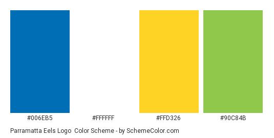Parramatta Eels Logo - Color scheme palette thumbnail - #006eb5 #ffffff #ffd326 #90c84b