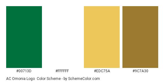 AC Omonia Logo - Color scheme palette thumbnail - #00713d #ffffff #edc75a #9c7a30