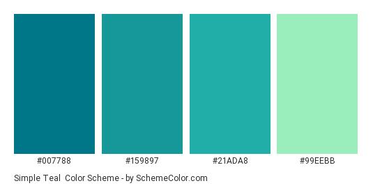 Simple Teal Color Scheme Palette Thumbnail 007788 159897 21ada8 99eebb