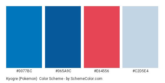 Kyogre (Pokemon) - Color scheme palette thumbnail - #0077BC #065A9C #E64556 #C2D5E4