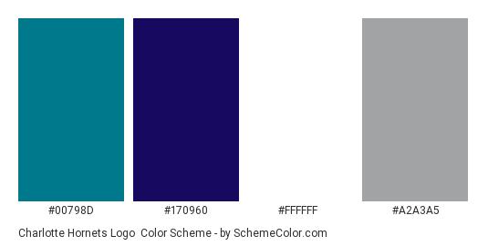 Charlotte Hornets Logo - Color scheme palette thumbnail - #00798d #170960 #ffffff #a2a3a5