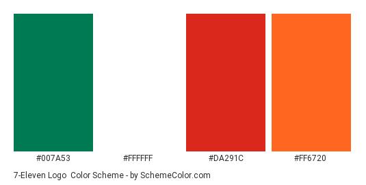 7-Eleven logo - Color scheme palette thumbnail - #007A53 #FFFFFF #DA291C #FF6720