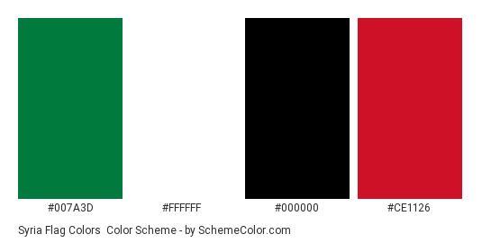 Syria Flag Colors - Color scheme palette thumbnail - #007a3d #ffffff #000000 #ce1126