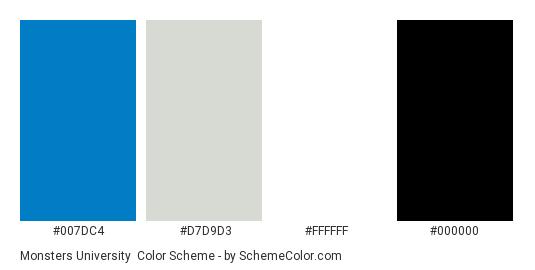 Monsters University - Color scheme palette thumbnail - #007dc4 #d7d9d3 #ffffff #000000
