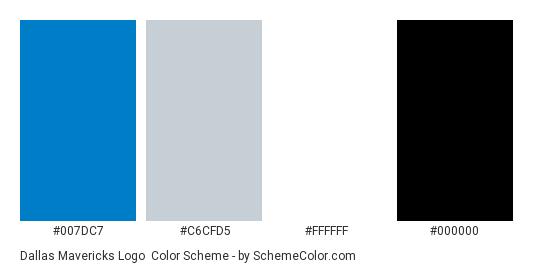 Dallas Mavericks Logo - Color scheme palette thumbnail - #007dc7 #c6cfd5 #ffffff #000000