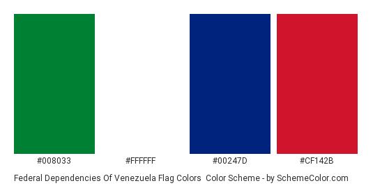 Federal Dependencies of Venezuela Flag Colors - Color scheme palette thumbnail - #008033 #ffffff #00247d #cf142b