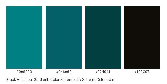 Black and Teal Gradient - Color scheme palette thumbnail - #008083 #046068 #004041 #100C07