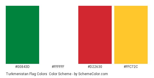 Turkmenistan Flag Colors - Color scheme palette thumbnail - #00843d #ffffff #d22630 #ffc72c