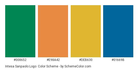 Intesa Sanpaolo Logo - Color scheme palette thumbnail - #008652 #e98a42 #deb630 #01669b