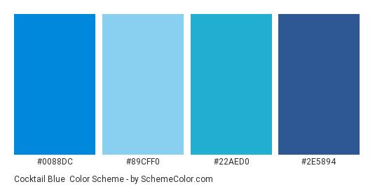 Cocktail Blue - Color scheme palette thumbnail - #0088dc #89cff0 #22aed0 #2e5894