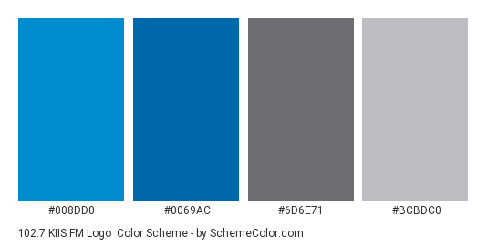 102.7 KIIS FM Logo - Color scheme palette thumbnail - #008dd0 #0069ac #6d6e71 #bcbdc0
