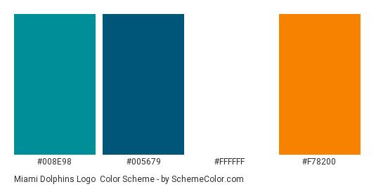 Miami Dolphins Logo - Color scheme palette thumbnail - #008e98 #005679 #ffffff #f78200