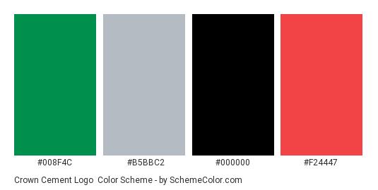 Crown Cement Logo - Color scheme palette thumbnail - #008f4c #b5bbc2 #000000 #f24447