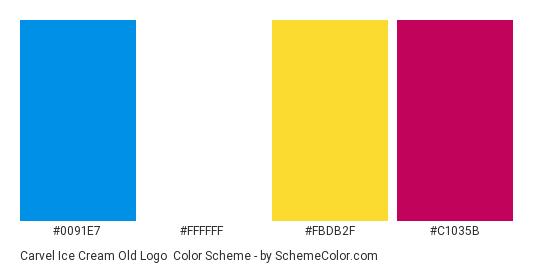 Carvel Ice Cream Old Logo - Color scheme palette thumbnail - #0091e7 #ffffff #fbdb2f #c1035b