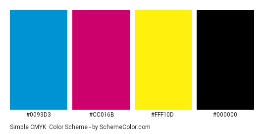 Simple CMYK - Color scheme palette thumbnail - #0093d3 #cc016b #fff10d #000000