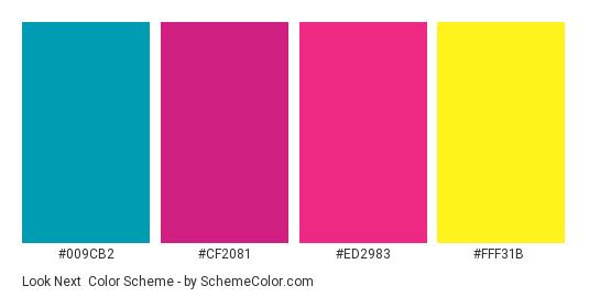 Look Next - Color scheme palette thumbnail - #009CB2 #CF2081 #ED2983 #FFF31B