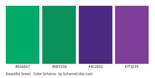 Beautiful Green & Violet - Color scheme palette thumbnail - #00AB67 #0B925B #4C2882 #7F3E99