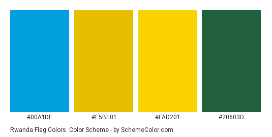 Rwanda Flag Colors - Color scheme palette thumbnail - #00a1de #e5be01 #fad201 #20603d
