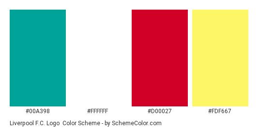 Liverpool F.C. Logo - Color scheme palette thumbnail - #00a398 #ffffff #d00027 #fdf667