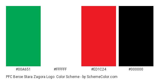 PFC Beroe Stara Zagora Logo - Color scheme palette thumbnail - #00a651 #ffffff #ed1c24 #000000