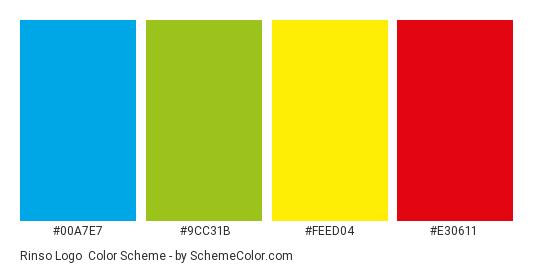 Rinso Logo - Color scheme palette thumbnail - #00a7e7 #9cc31b #feed04 #e30611