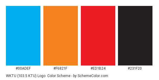 WKTU (103.5 KTU) Logo - Color scheme palette thumbnail - #00adef #f6821f #ed1b24 #231f20