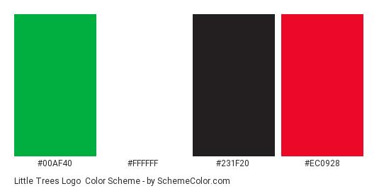 Little Trees Logo - Color scheme palette thumbnail - #00af40 #ffffff #231f20 #ec0928