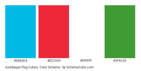 Azerbaijan Flag Colors - Color scheme palette thumbnail - #00b9e4 #ed2939 #ffffff #3f9c35