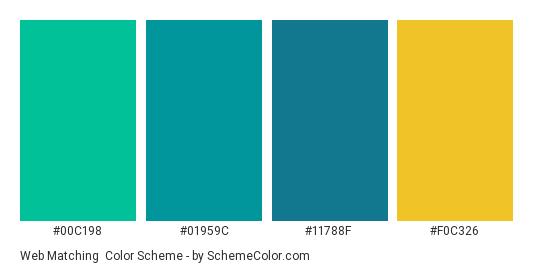 Web Matching - Color scheme palette thumbnail - #00c198 #01959c #11788f #f0c326