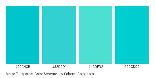 Matte Turquoise - Color scheme palette thumbnail - #00c4cb #32d0d1 #4cdfd2 #00cdd0