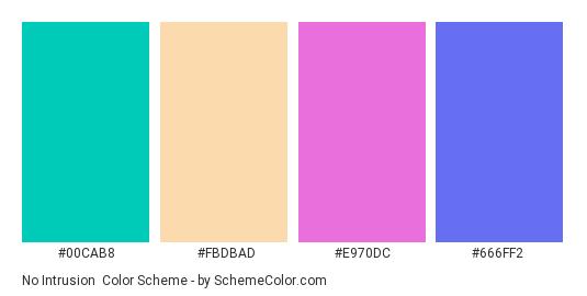 No Intrusion - Color scheme palette thumbnail - #00cab8 #fbdbad #e970dc #666ff2