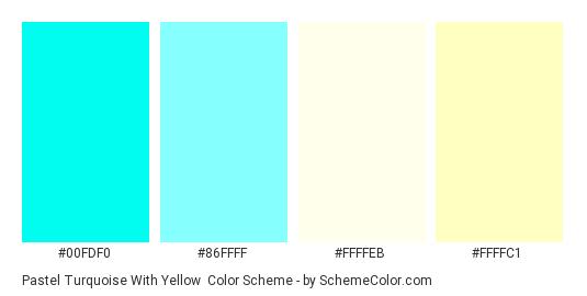 Pastel Turquoise with Yellow - Color scheme palette thumbnail - #00fdf0 #86ffff #ffffeb #ffffc1