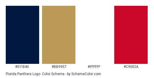 Florida Panthers Logo - Color scheme palette thumbnail -  011840  bb9957   ffffff   0fec67329