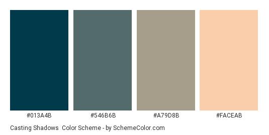 Casting Shadows - Color scheme palette thumbnail - #013A4B #546B6B #A79D8B #FACEAB