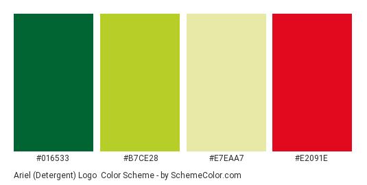 Ariel (Detergent) Logo - Color scheme palette thumbnail - #016533 #b7ce28 #e7eaa7 #e2091e
