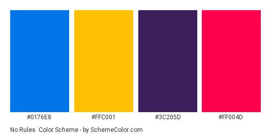 No Rules - Color scheme palette thumbnail - #0176e8 #ffc001 #3c205d #ff004d