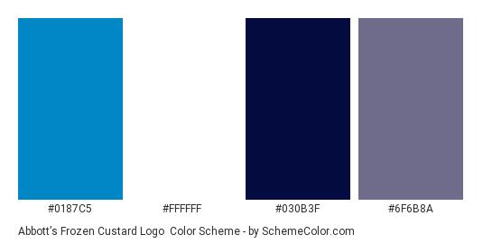 Abbott's Frozen Custard Logo - Color scheme palette thumbnail - #0187c5 #ffffff #030b3f #6f6b8a