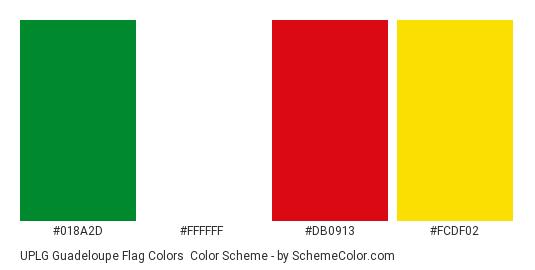 UPLG Guadeloupe Flag Colors - Color scheme palette thumbnail - #018a2d #ffffff #db0913 #fcdf02