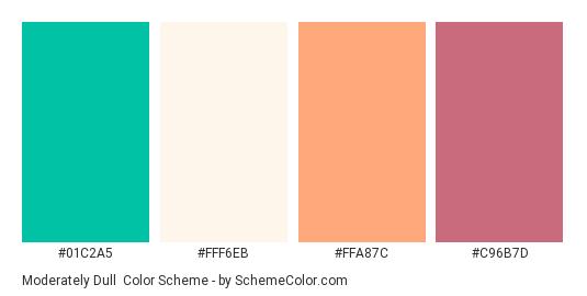 Moderately Dull - Color scheme palette thumbnail - #01c2a5 #fff6eb #ffa87c #c96b7d