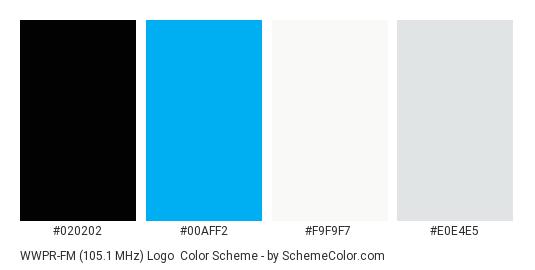 WWPR-FM (105.1 MHz) Logo - Color scheme palette thumbnail - #020202 #00aff2 #f9f9f7 #e0e4e5
