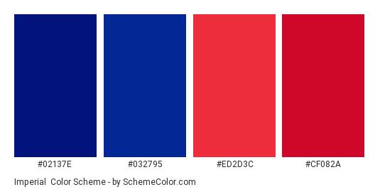 Imperial - Color scheme palette thumbnail - #02137e #032795 #ed2d3c #cf082a