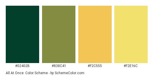 All at Once - Color scheme palette thumbnail - #02402B #838C41 #F2C555 #F2E16C