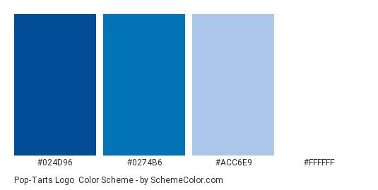 Pop-Tarts Logo - Color scheme palette thumbnail - #024d96 #0274b6 #acc6e9 #ffffff