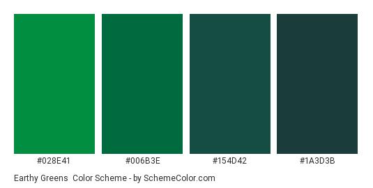 Earthy Greens - Color scheme palette thumbnail - #028e41 #006b3e #154d42 #1a3d3b