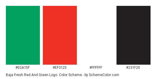 Baja Fresh Red and Green Logo - Color scheme palette thumbnail - #02a15f #ef3125 #ffffff #231f20